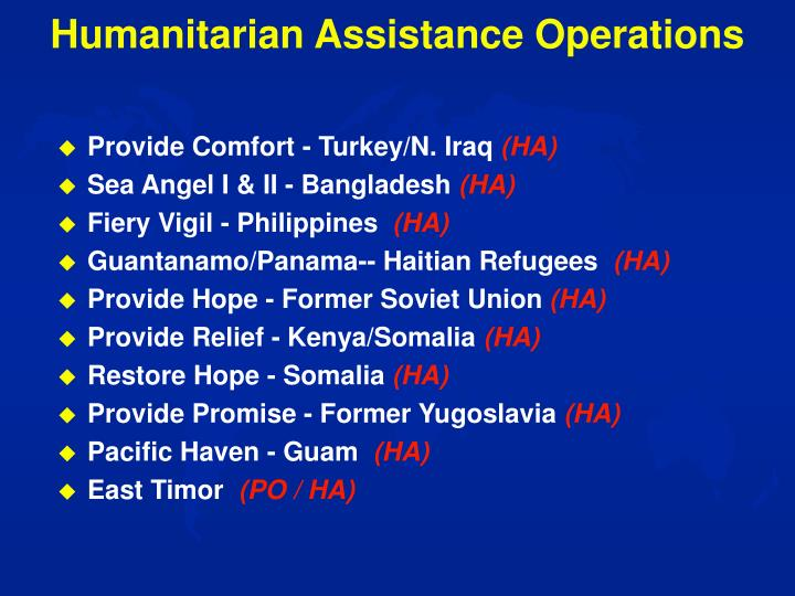 Humanitarian Assistance Operations