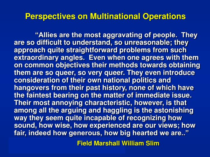 Perspectives on Multinational Operations