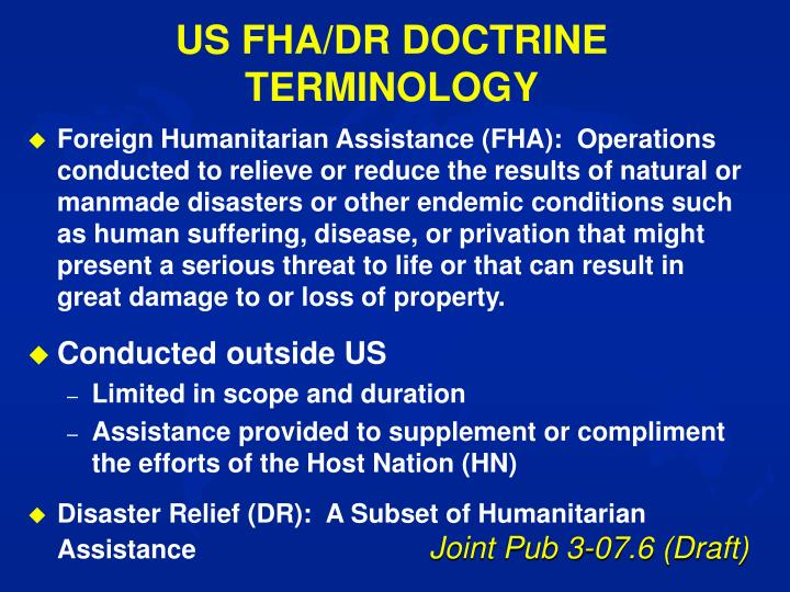 US FHA/DR DOCTRINE TERMINOLOGY