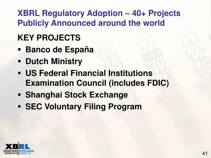 XBRL Regulatory Adoption – 40+ Projects Publicly Announced around the world