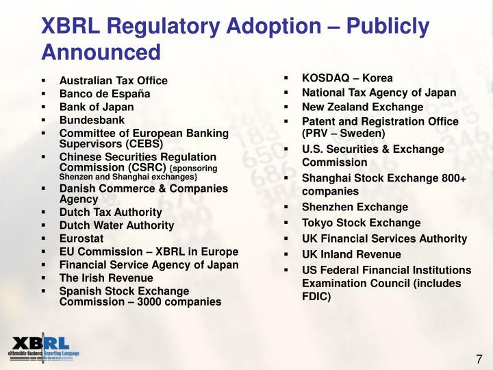 XBRL Regulatory Adoption – Publicly Announced