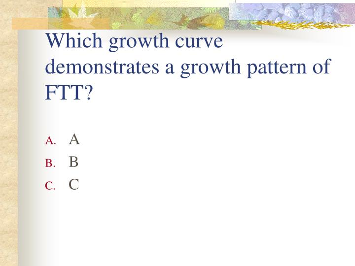 Which growth curve demonstrates a growth pattern of FTT?
