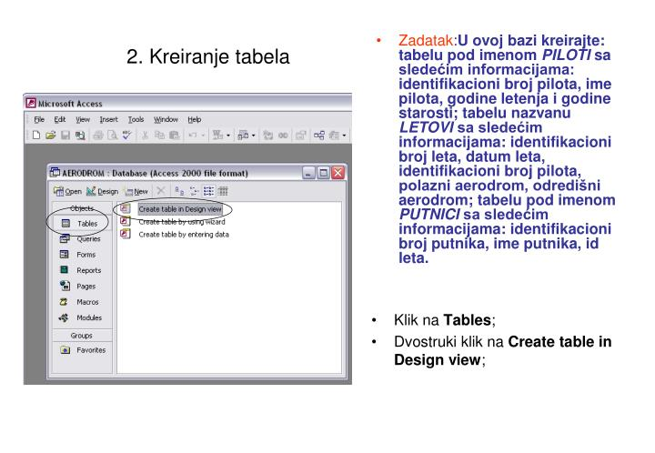 2. Kreiranje tabela
