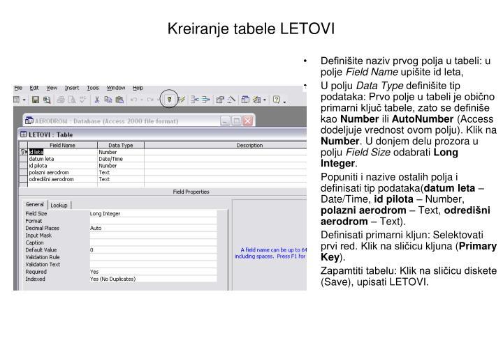 Kreiranje tabele LETOVI