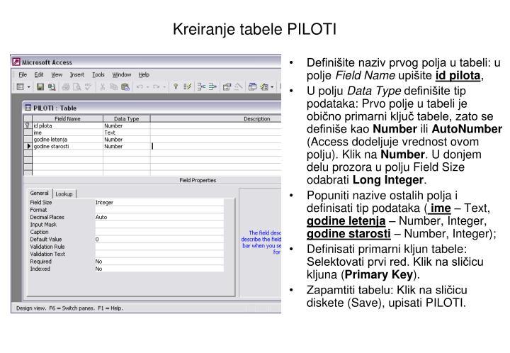 Kreiranje tabele PILOTI