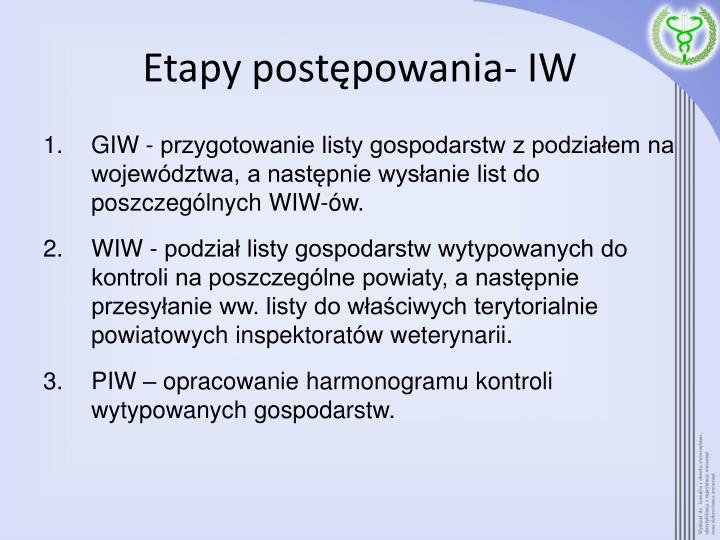 Etapy postępowania- IW