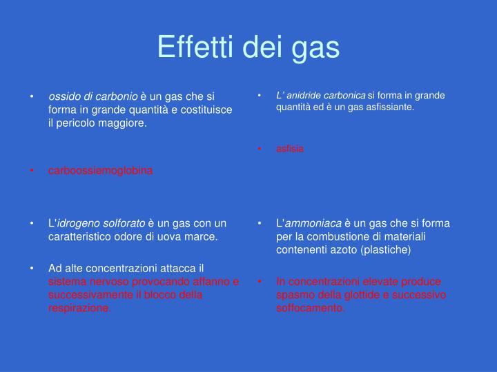 Effetti dei gas