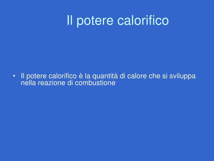Il potere calorifico