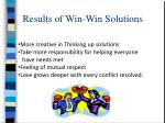 results of win win solutions