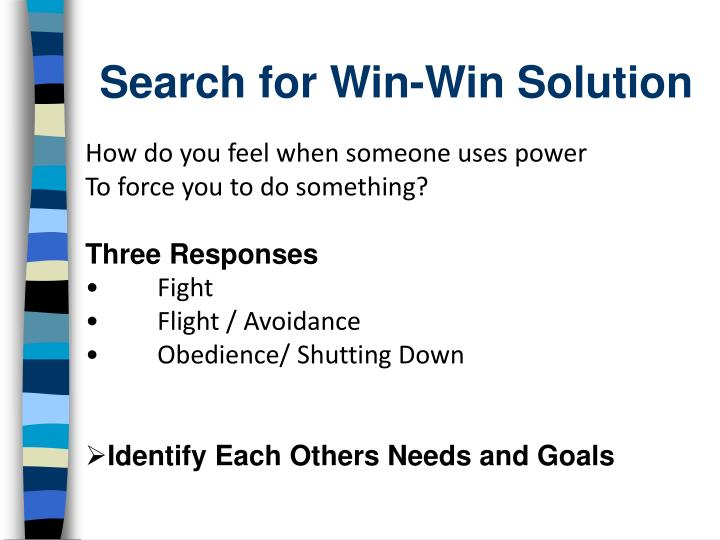 Search for Win-Win Solution