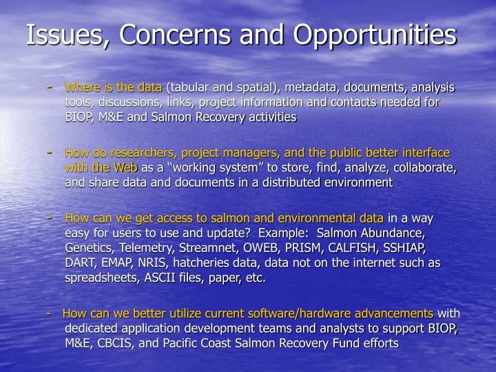 Issues, Concerns and Opportunities
