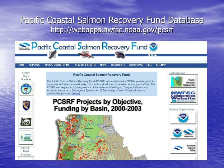 Pacific Coastal Salmon Recovery Fund Database