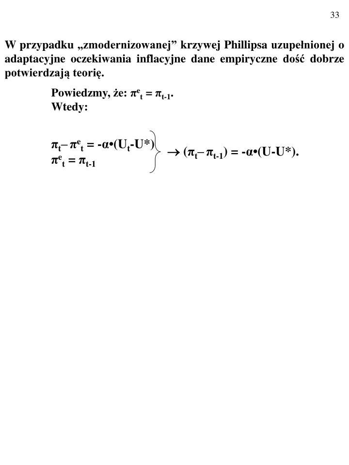 W przypadku zmodernizowanej krzywej Phillipsa uzupenionej o adaptacyjne oczekiwania inflacyjne dane empiryczne do dobrze potwierdzaj teori.