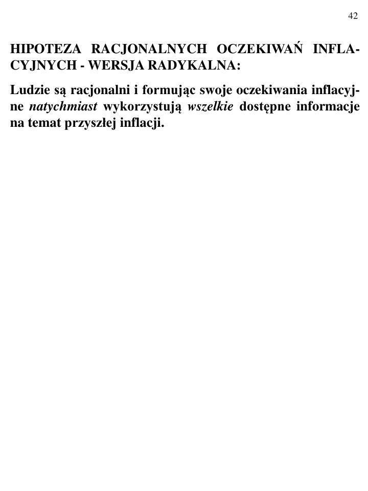 HIPOTEZA RACJONALNYCH OCZEKIWA INFLA-CYJNYCH - WERSJA RADYKALNA: