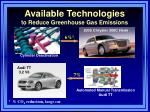 available technologies to reduce greenhouse gas emissions