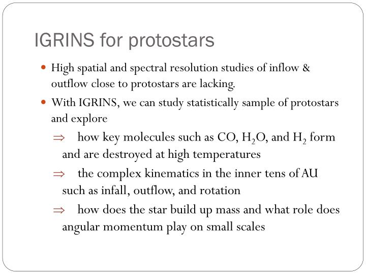 Igrins for protostars