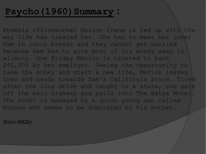 Psycho(1960)Summary