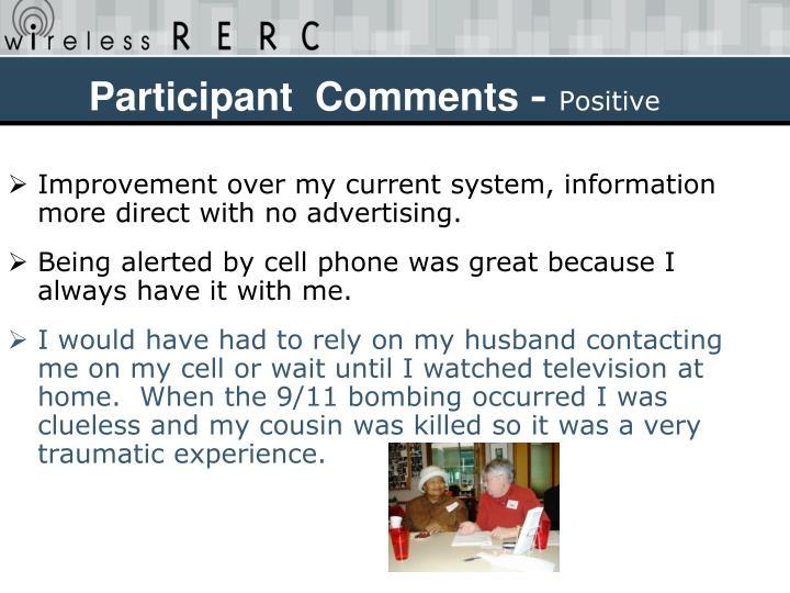 Participant  Comments