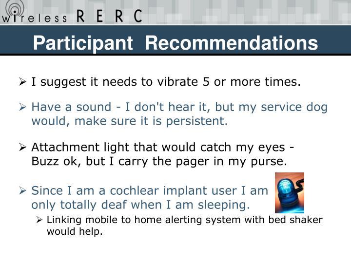 Participant  Recommendations