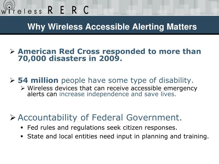 Why Wireless Accessible Alerting Matters