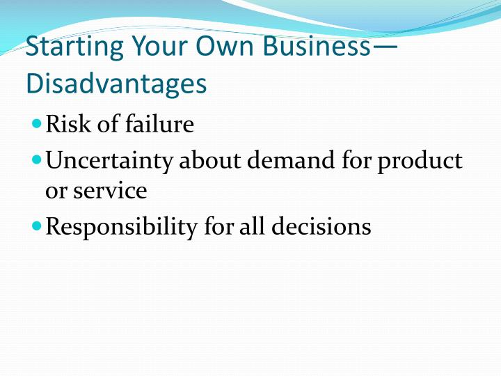 Starting Your Own Business—Disadvantages