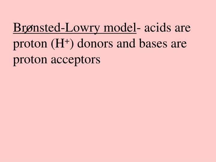 Bronsted-Lowry model