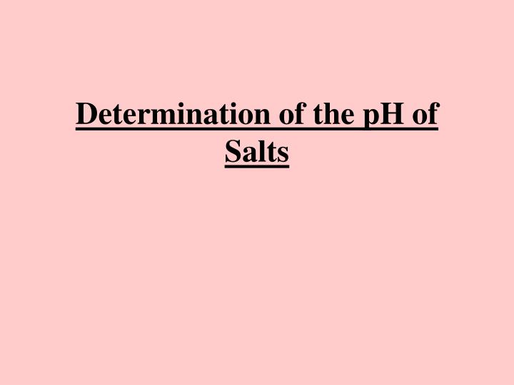 Determination of the pH of Salts