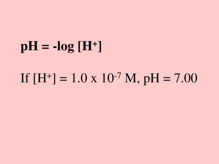 pH = -log [H