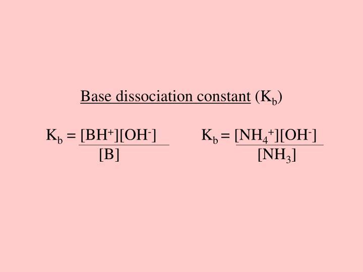 Base dissociation constant