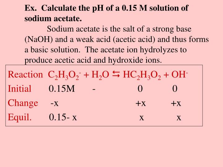 Ex.  Calculate the pH of a 0.15 M solution of sodium acetate.