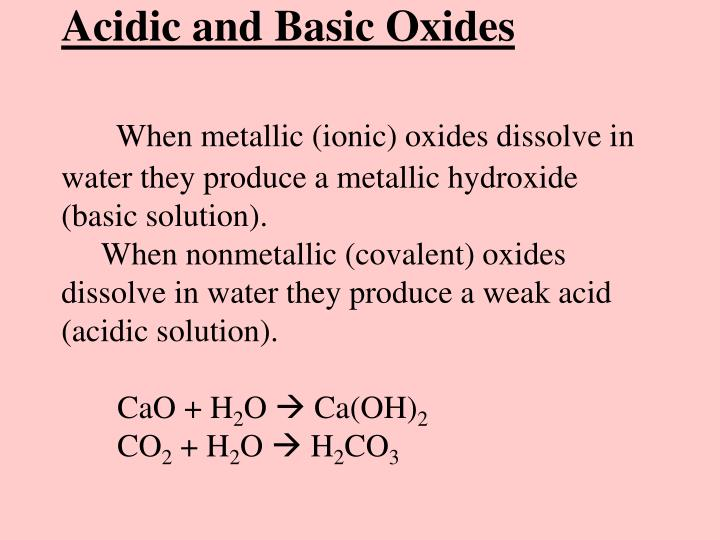 Acidic and Basic Oxides