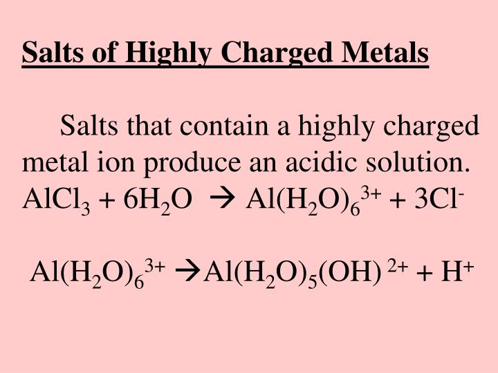 Salts of Highly Charged Metals