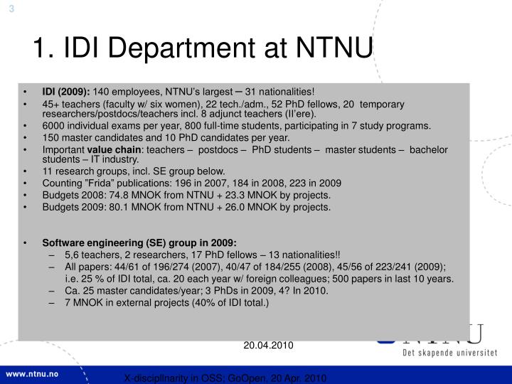1. IDI Department at NTNU