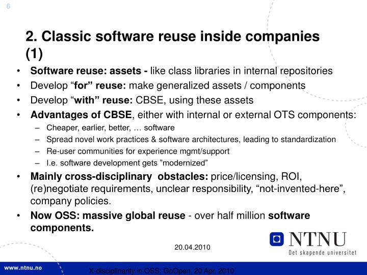 2. Classic software reuse inside companies (1)