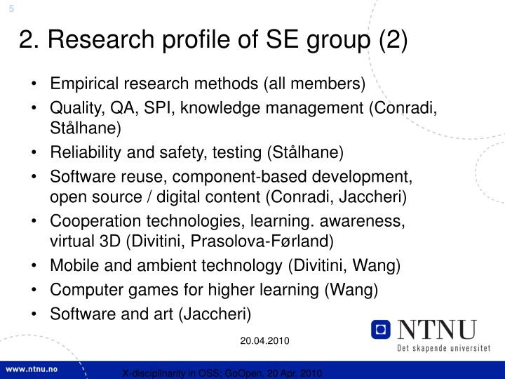 2. Research profile of SE group (2)