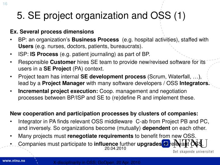 5. SE project organization and OSS (1)