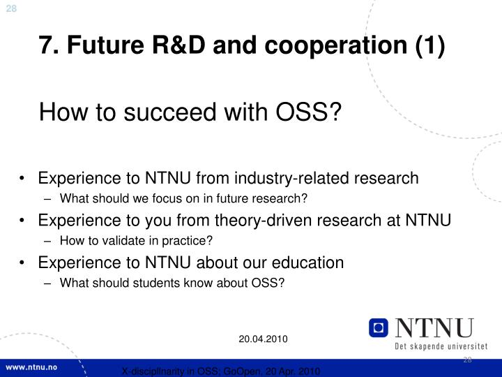 7. Future R&D and cooperation (1)