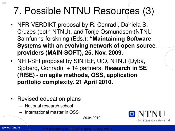 7. Possible NTNU Resources (3)