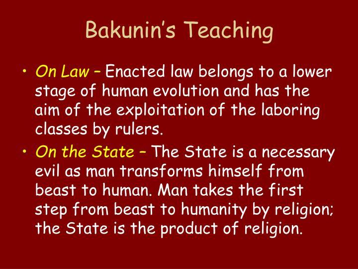 Bakunin's Teaching