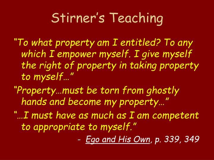 Stirner's Teaching