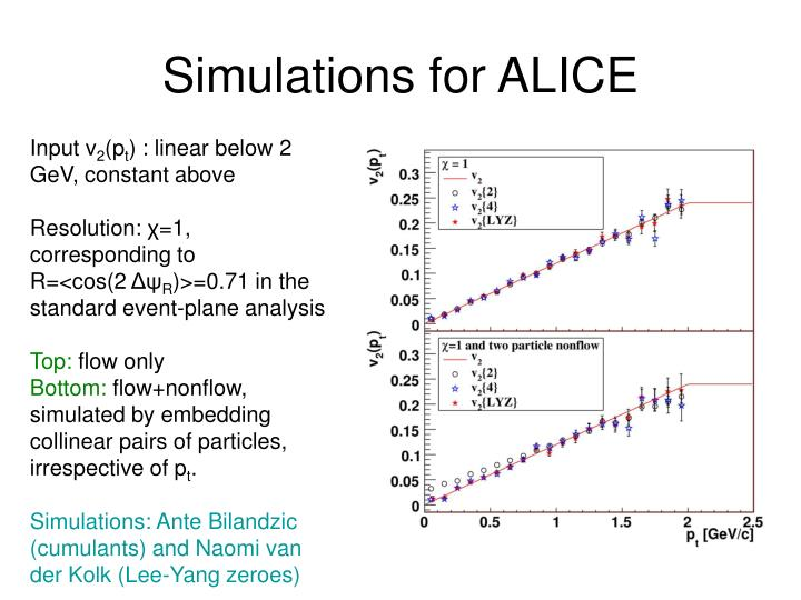 Simulations for ALICE
