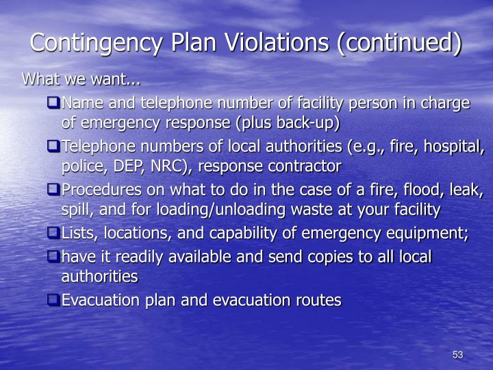 Contingency Plan Violations (continued)