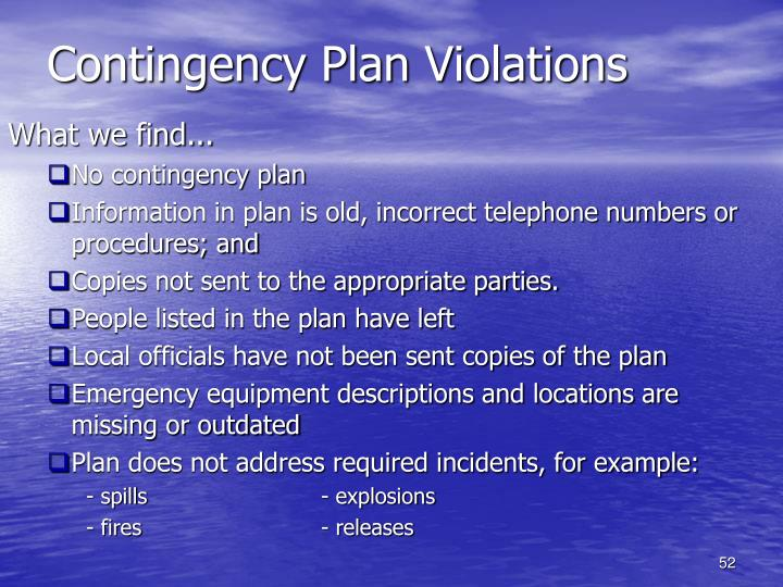 Contingency Plan Violations