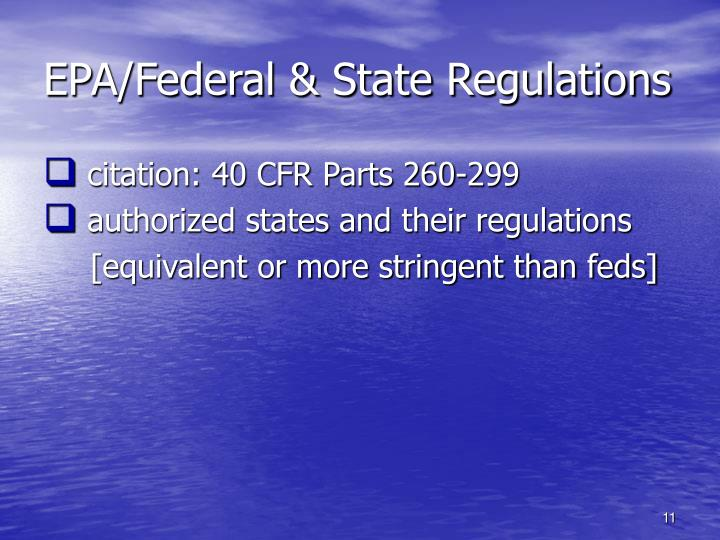 EPA/Federal & State Regulations