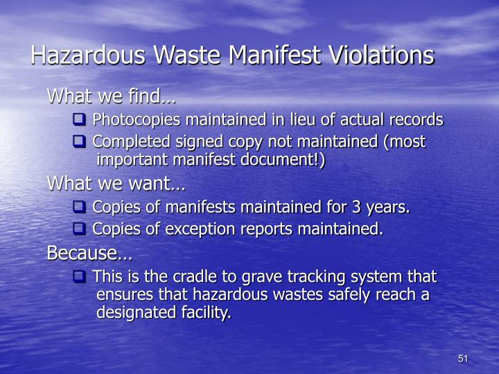 Hazardous Waste Manifest Violations
