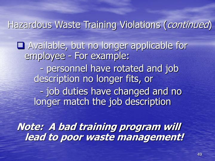 Hazardous Waste Training Violations (