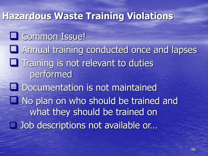 Hazardous Waste Training Violations
