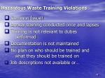 hazardous waste training violations