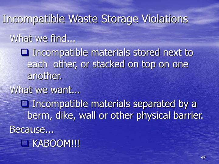Incompatible Waste Storage Violations