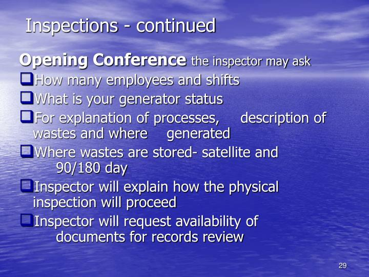 Inspections - continued